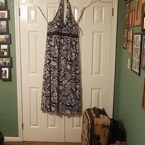 Black & white haltar dress.